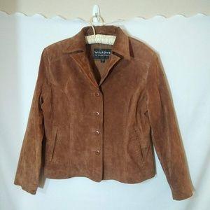 Wilton's leather XL Retro tan suede fall jacket
